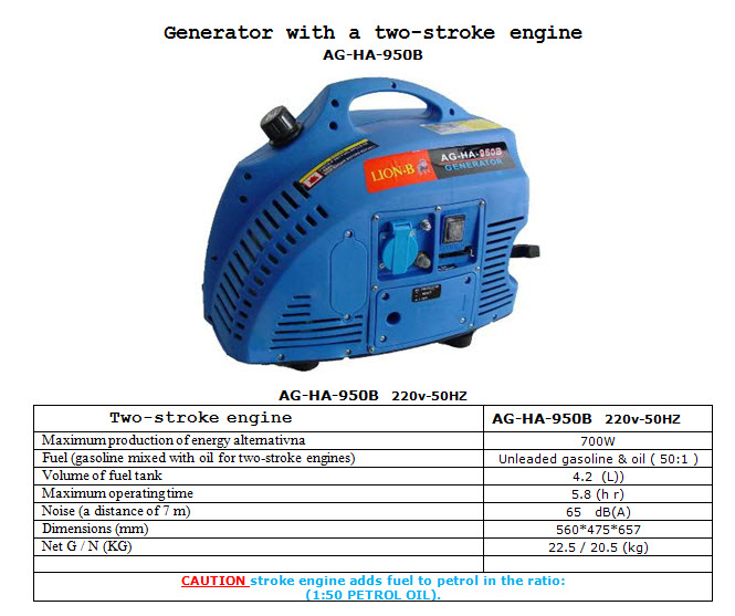 AG HA 950B Generator With A Two Stroke Engine